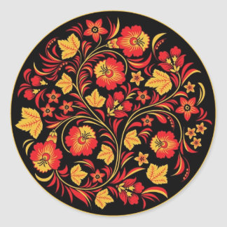 Khokhloma (Hohloma) Russian Art Workshops Classic Round Sticker