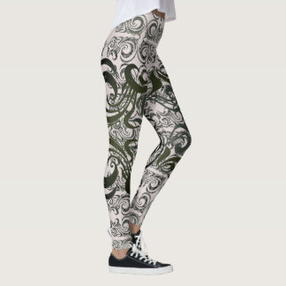 Khokhloma Muted Seaweed Pattern Leggings