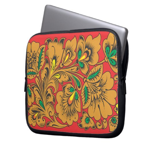 khokhloma pattern laptop sleeve