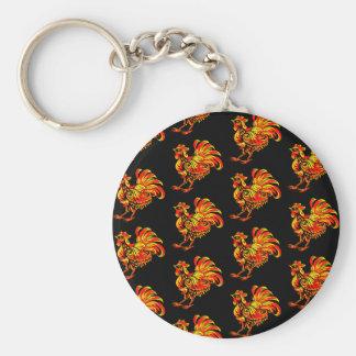 Khokhloma rooster basic round button key ring