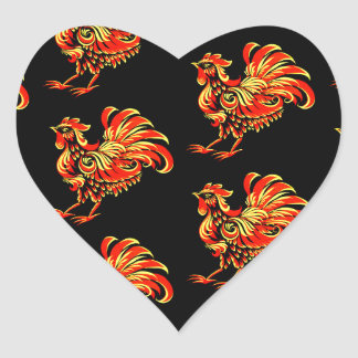 Khokhloma rooster heart sticker