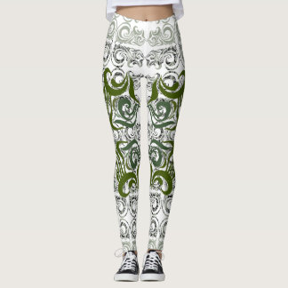 Khokhloma Seaweed Pattern Leggings