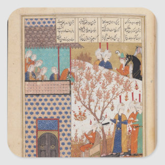 Khosro before Shirin's Palace Square Sticker
