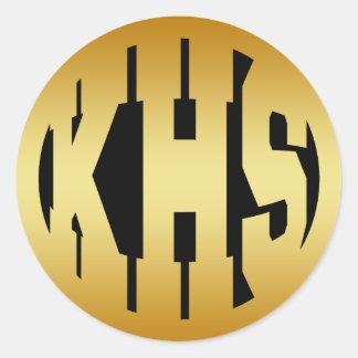 KHS - HIGH SCHOOL INITIALS IN GOLD TEXT ROUND STICKER