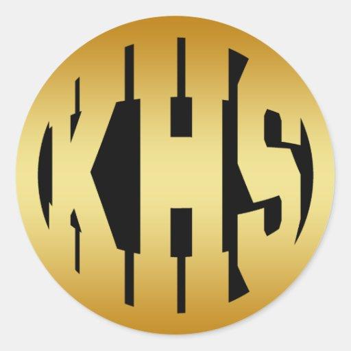 KHS - HIGH SCHOOL INITIALS IN GOLD TEXT ROUND STICKERS