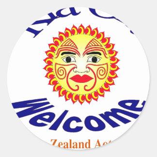 Kia Ora Welcome Round Stickers