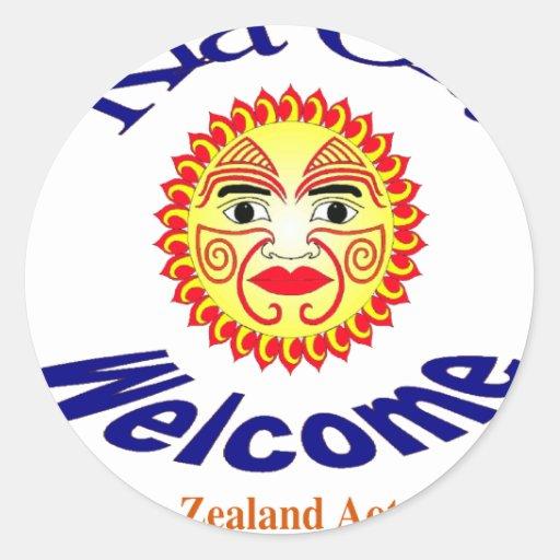 Kia Ora, Welcome Round Stickers