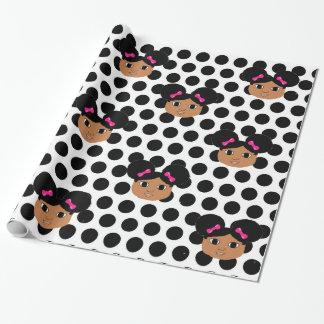 Kiara Pink Bows and Polka Dots Gift Wrap
