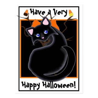 Kiara Toon Kitty Black Cat With Tree Postcard