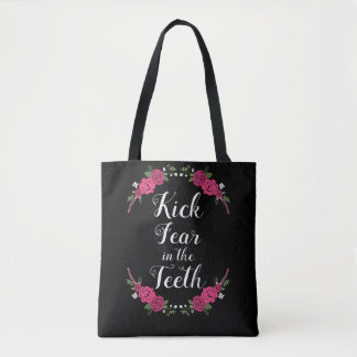 Kick Fear in the Teeth Pink and Purple Roses Tote