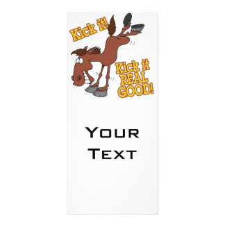 kick it real good funny kicking horse 10 cm x 23 cm rack card