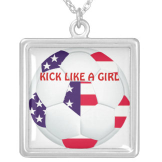 KICK LIKE A GIRL ~ American Flag Themed Soccer Square Pendant Necklace