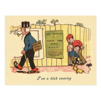Kick Me Sign Prank Children Old Man Postcard