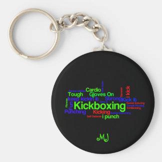 Kickboxing Word Cloud Bright on Black Basic Round Button Key Ring