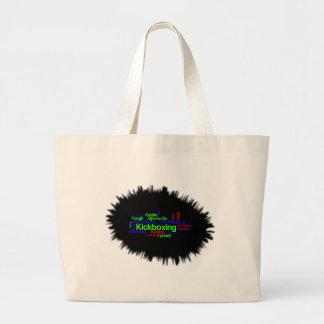 Kickboxing Word Cloud Bright on Black Jumbo Tote Bag