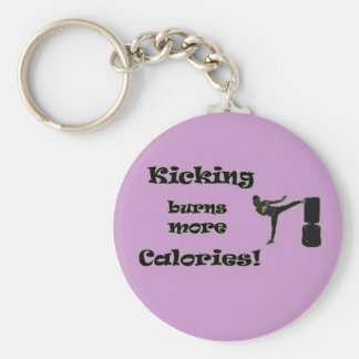 Kicking burns more Calories! Basic Round Button Key Ring