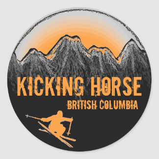 Kicking Horse British Columbia orange ski stickers