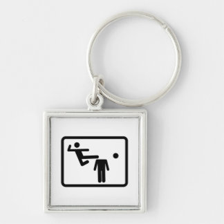 Kicking The Head Off The Neck Silver-Colored Square Key Ring