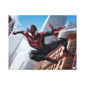 Kid Arachnid Web Slinging Through City Canvas Print