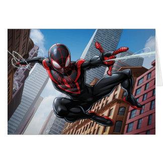 Kid Arachnid Web Slinging Through City Card
