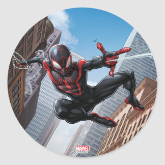 Kid Arachnid Web Slinging Through City Classic Round Sticker