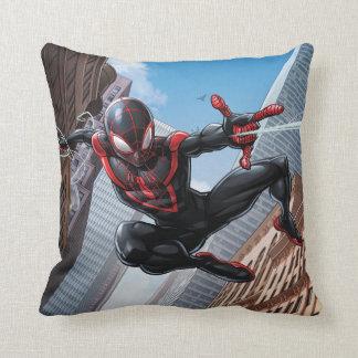 Kid Arachnid Web Slinging Through City Cushion