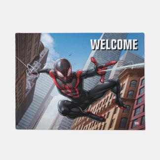 Kid Arachnid Web Slinging Through City Doormat