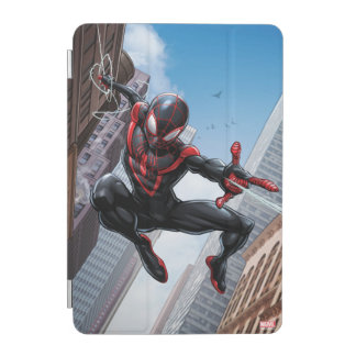 Kid Arachnid Web Slinging Through City iPad Mini Cover
