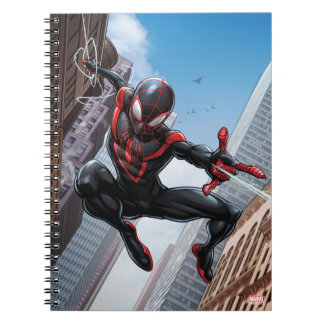 Kid Arachnid Web Slinging Through City Notebook