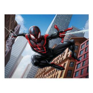 Kid Arachnid Web Slinging Through City Postcard