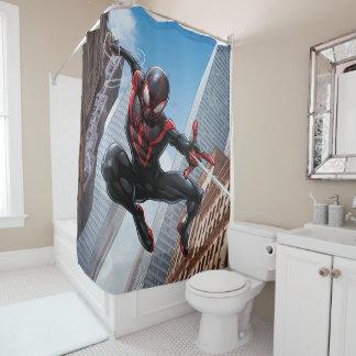 Kid Arachnid Web Slinging Through City Shower Curtain