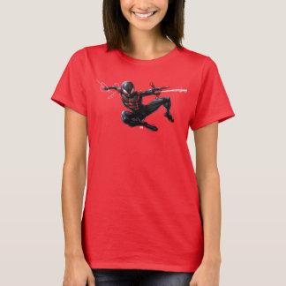 Kid Arachnid Web Slinging Through City T-Shirt