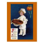 Kid Chef with Pumpkin Pie Vintage Thanksgiving Post Cards