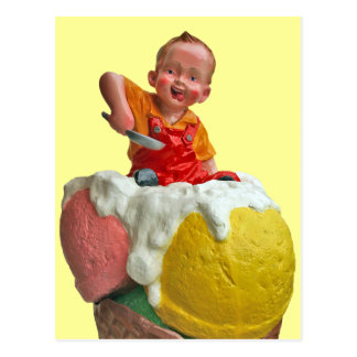 Kid Cone Ice Cream Parlor Sign Postcard