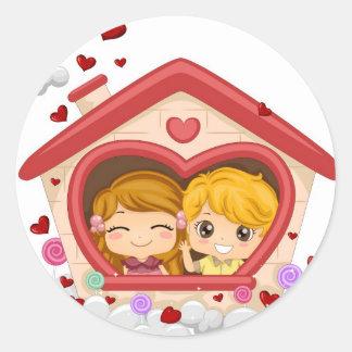 Kid Couple Round Sticker