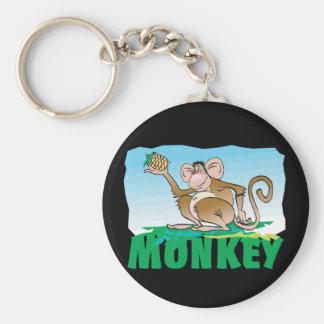 Kid Friendly Monkey Basic Round Button Key Ring