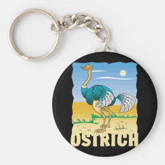 Kid Friendly Ostrich Basic Round Button Key Ring