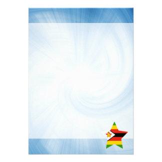 Kid Friendly Zimbabwe Flag Star 13 Cm X 18 Cm Invitation Card