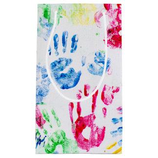 kid hand print design small gift bag