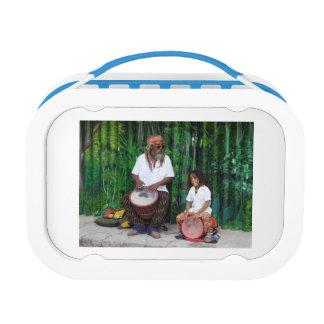 Kid & his grandpa. lunch box