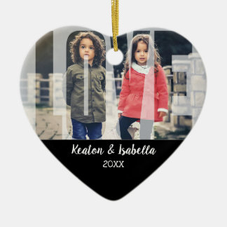 Kid Love  with DIY Photo and Text Ceramic Ornament