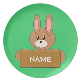 Kid s Dark Brown Bunny with Name Sign Plate