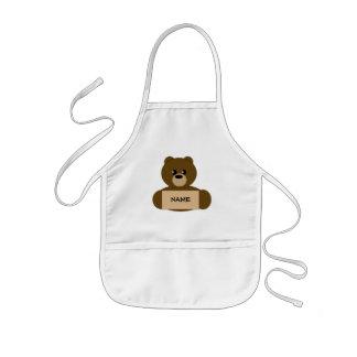 Kid s Personalized Dark Brown Teddy Bear Apron