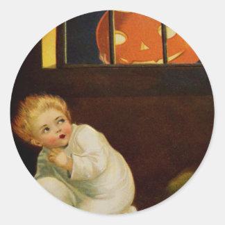 Kid Scared By Jack O' Lantern In Window Round Sticker