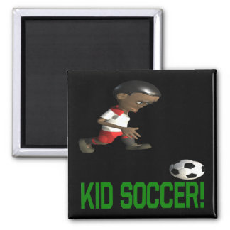 Kid Soccer Square Magnet