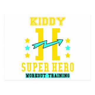 Kidd super hero workout training postcard