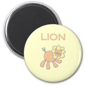 Kiddies Stitched Lion 6 Cm Round Magnet