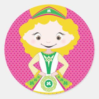 KIDLETS :: irish dancer blonde Round Sticker