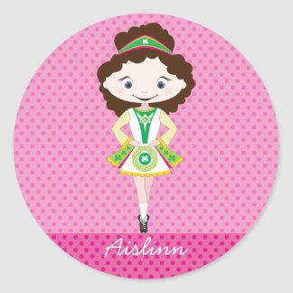 KIDLETS irish dancer dancing brown hair Round Sticker