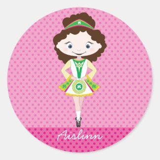 KIDLETS irish dancer dancing brown hair Round Sticker